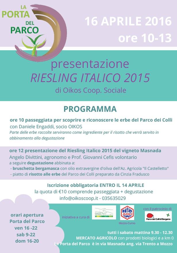 Locandina Oikos presentazione Riesling Italico 2015