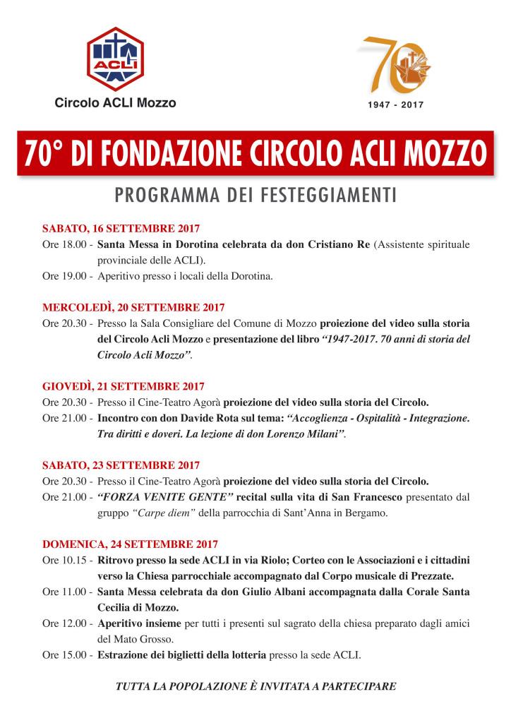 Programma festeggiamenti 70esimo fondazione circolo di Mozzo