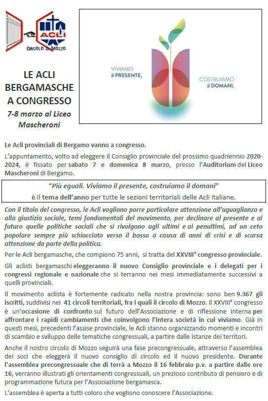 Articolo ACLI - feb 2020 LE ACLI BERGAMASCHE A CONGRESSO